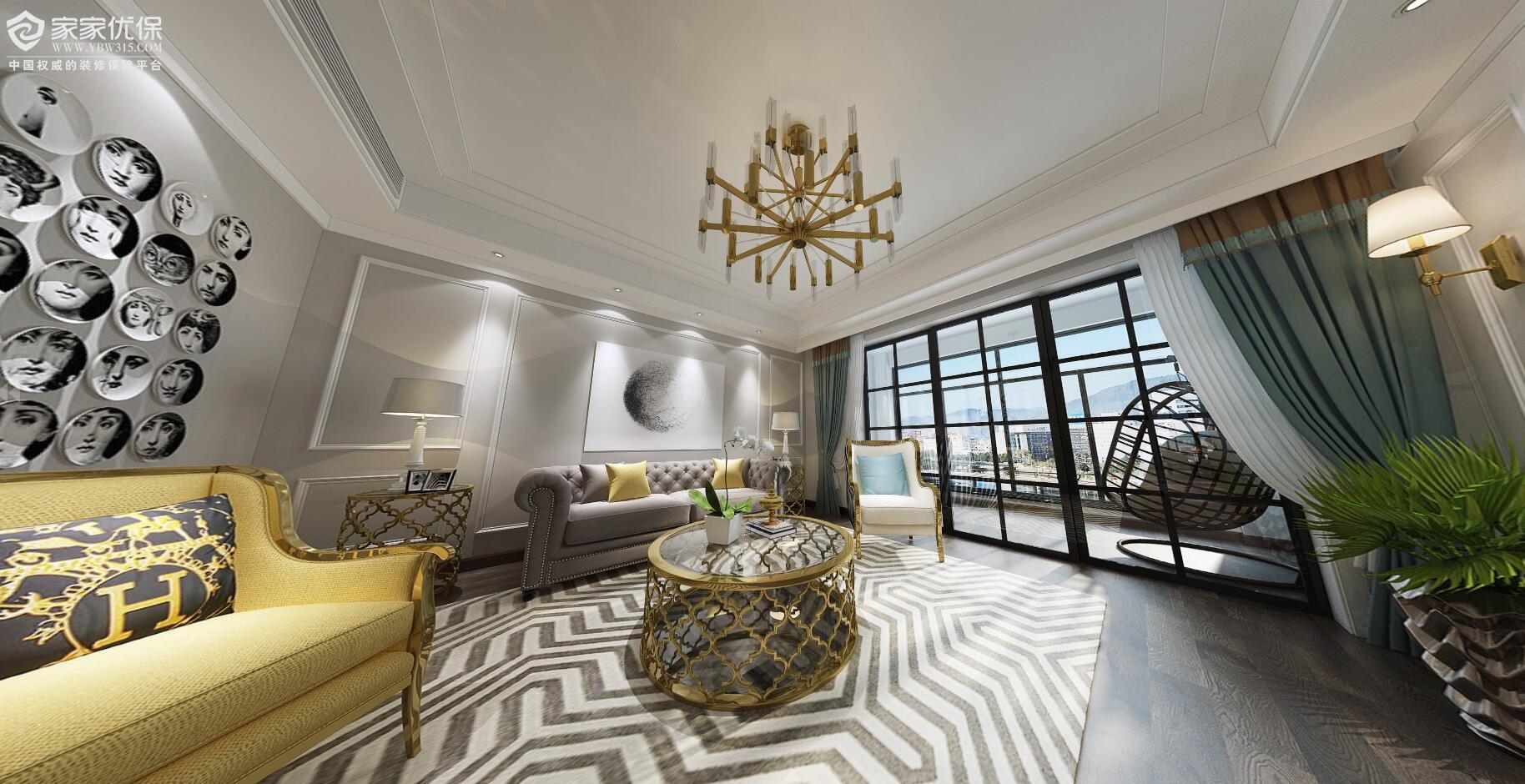 二房二厅美式风格3d效果图