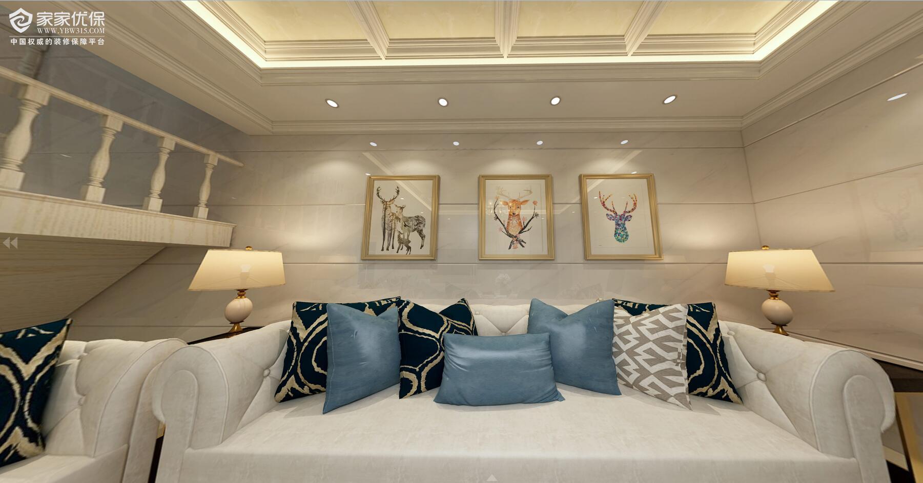 三房一厅欧式风格3d效果图