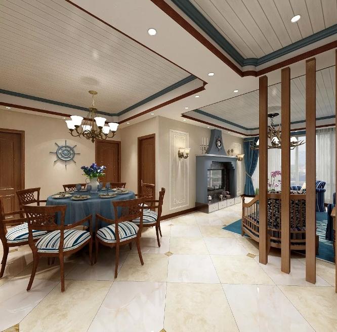 地中海风格新房装修案例,墙面装修和吊顶造型很亮眼