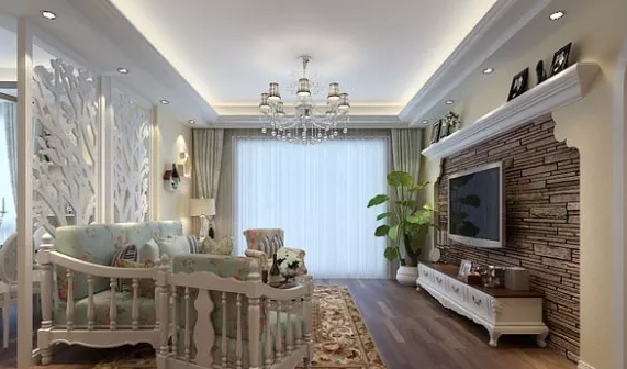 田园风格混搭欧式风格,电视背景墙的设计个性十足