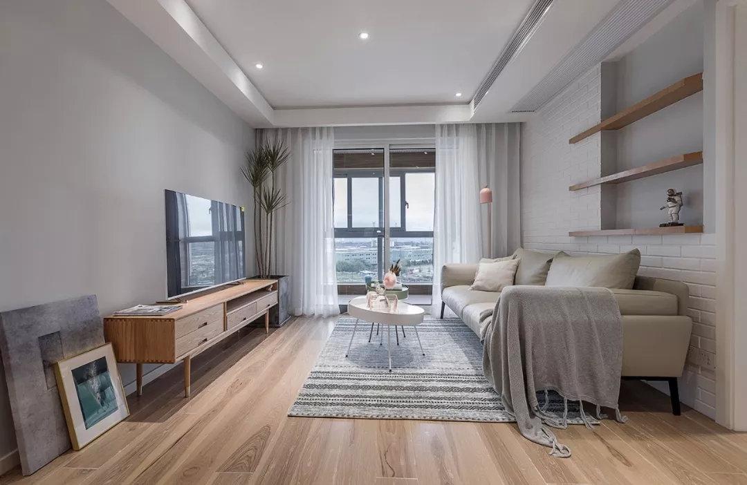 北欧风格小三居装修,沙发背景墙展示区创意十足