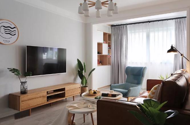北欧风格两室两厅装修案例,空间颜色丰富清爽大气