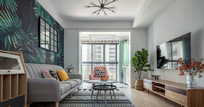 90平米清新北欧风装修案例,沙发墙的设计充满个性