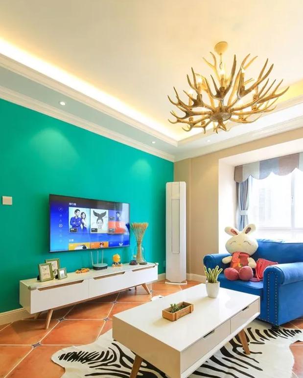 95平米混搭风格装修花10万,蓝色搭配绿色轻松又活泼