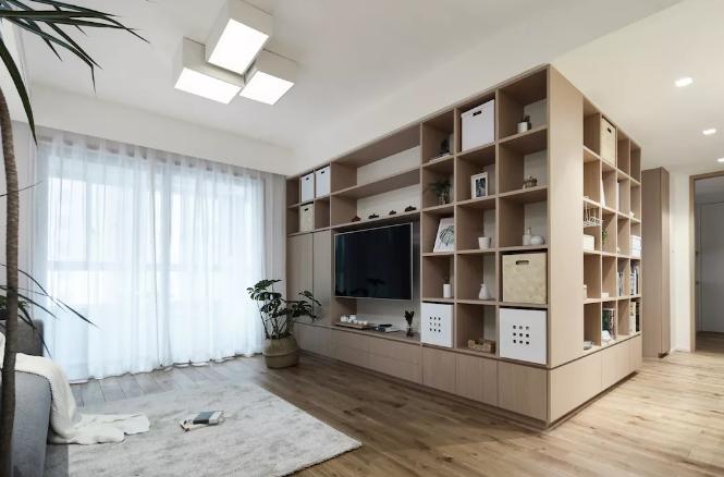 日式风格装修案例,开放式书房全屋定制柜子很亮眼