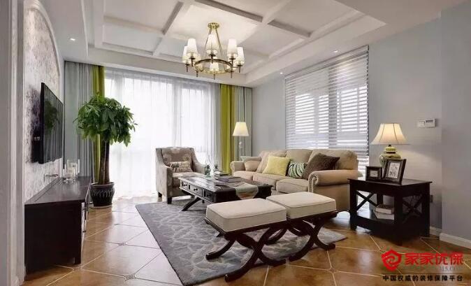 大户型美式风格新房装修案例,淡蓝色搭配青绿色很亮眼