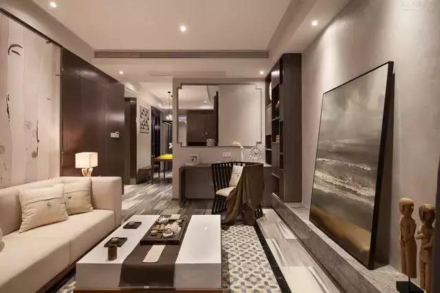 现代中式风格装修案例,简约禅意的两居室