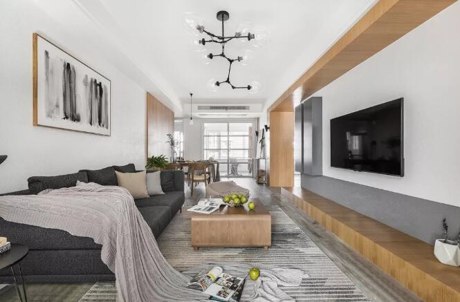 现代北欧风格装修效果图,客厅不装电视柜也可以这么美