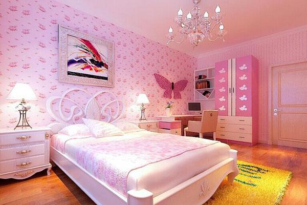 女生臥室設計墻面顏色,女孩臥室裝修風格