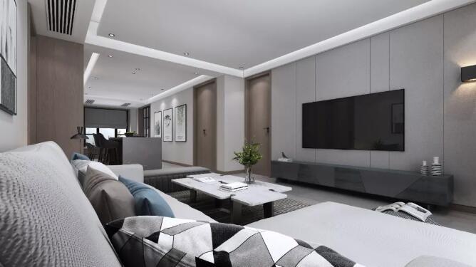 现代风格装修效果图,灰色搭配实用的灯光设计独具魅力