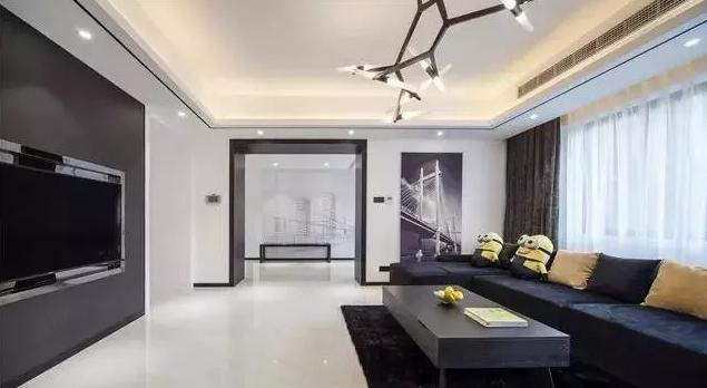 干净硬朗的现代简约风格装修案例,完美的黑白色搭配