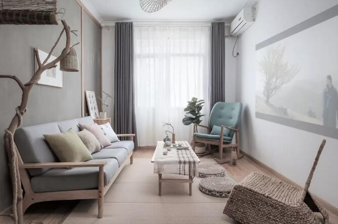 日式风格装修效果图,灰色搭配木质家具摆件非常漂亮