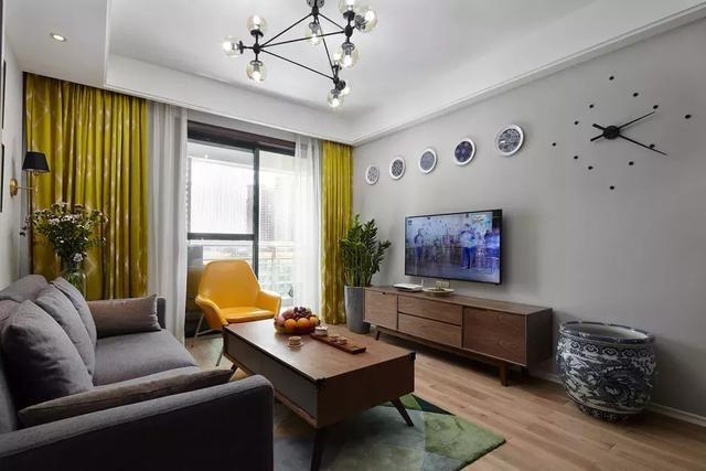 现代北欧混搭风格装修案例,客厅布置清新优雅
