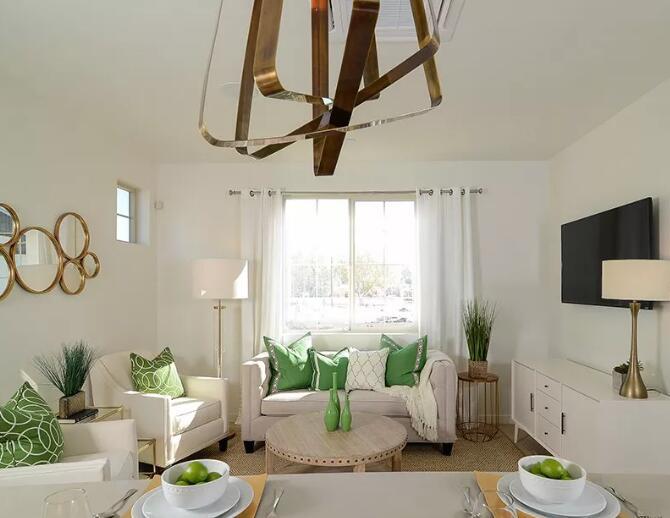 小户型田园风格装修案例,绿色和金属点缀整个空间美腻了