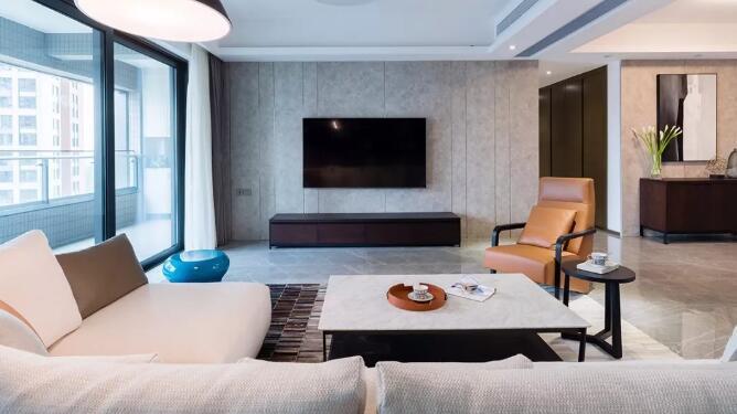 大户型简约风格装修案例,客厅开放式书柜和硬包墙面真心赞