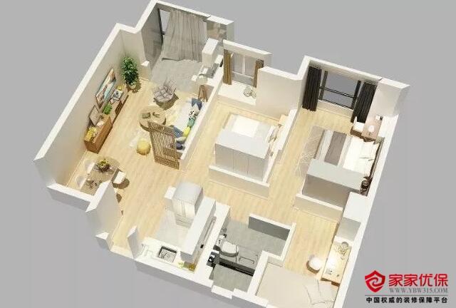 100平米新房装修案例,布艺软装家具和空间颜色搭配非常巧妙