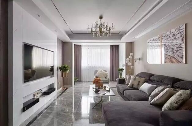 美式风格新房装修效果图,嵌入式电视墙卧室墙面硬包很亮眼