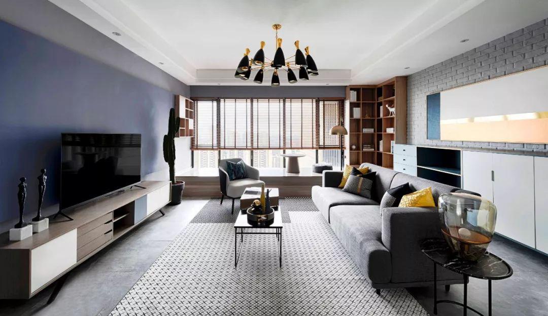 110㎡混搭风格装修效果图,低调有质感的灰蓝色空间