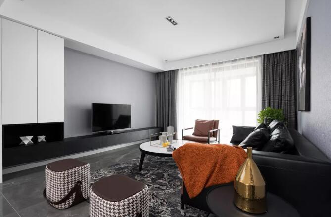 现代风格新房装修效果图,客餐厅带有大落地窗宽敞又明亮