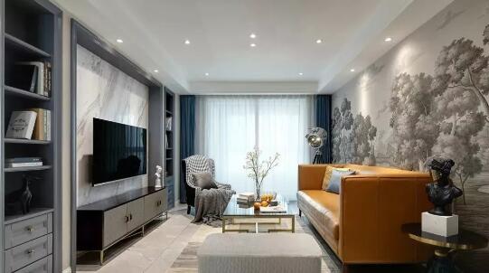 现代美式风格装修效果图,橙黄沙发配森林白云背景墙简直完美